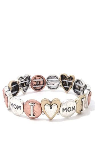 I love you mom stretch metal bracelet-id.cc37884