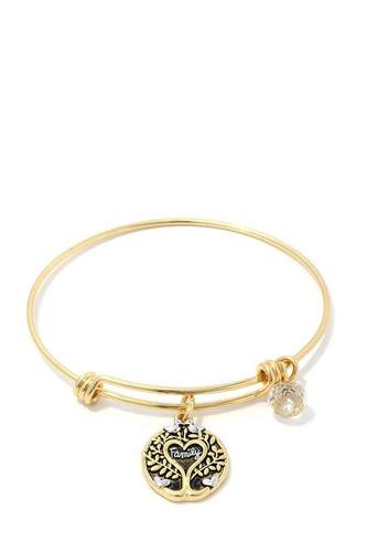 Family oak tree charm metal bangle bracelet-id.cc37885