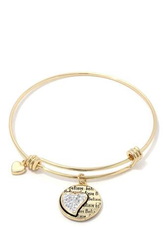 Heart circle metal bangle bracelet-id.cc37886