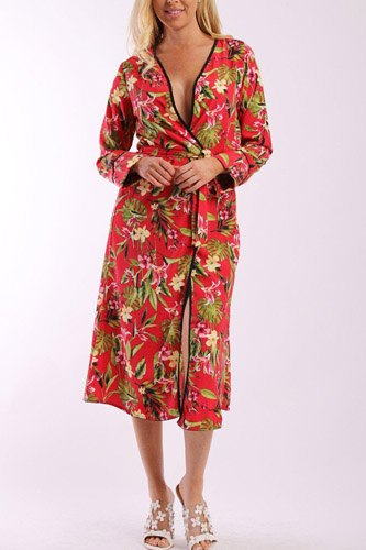 Floral print cardigan with long sleeves, open front, matching belt and contrast trim-id.cc37900