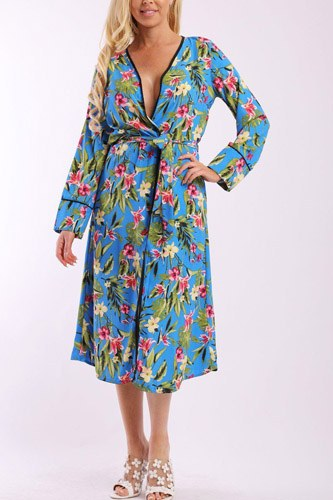 Floral print cardigan with long sleeves, open front, matching belt and contrast trim-id.cc37900a