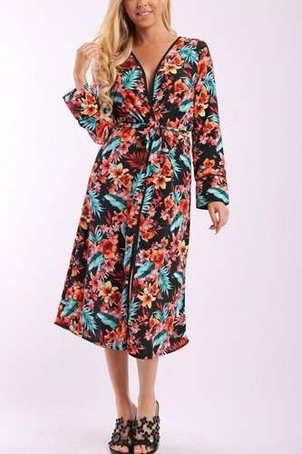 Floral print cardigan with long sleeves, open front, matching belt and contrast trim-id.cc37900b