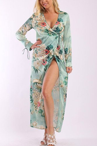 floral print, wrapped, kimono style, satin dress with long sleeves, high front slit and decorative trimming-id.cc37901