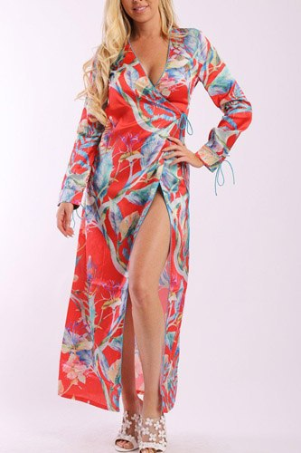 floral print, wrapped, kimono style, satin dress with long sleeves, high front slit and decorative trimming-id.cc37901b