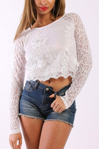 Solid lace top with long sleeves and round neck-id.cc37904b