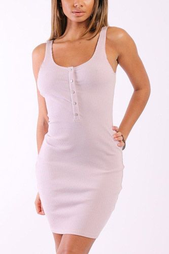 Solid, sleeveless, rib tank dress with decorative buttons-id.cc37905