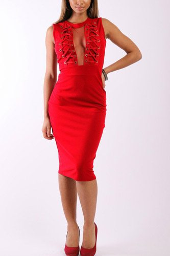 Solid, sleeveless midi dress with round neck, front mesh panel, decorative lace up design and a back zipper-id.cc37906a