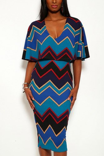 Chevron print midi dress with over the shoulder ruffle and v-neck-id.cc37910