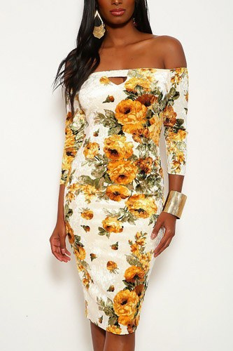 Crushed velvet floral midi dress with 3/4 sleeves, off the shoulders neckline and keyhole in bodycon fit-id.cc37915