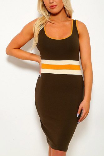 Solid, color block contrast, sleeveless, round neckline, stripe detail, and stretchy. Followed by fitted wear-id.cc37916a