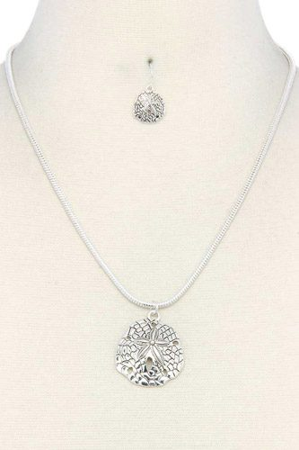 Sand dollar pendant necklace-id.cc37937