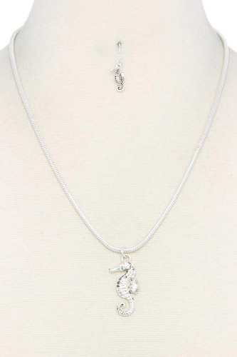 Sea horse charm metal necklace-id.cc37940