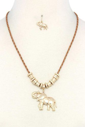 Elephant charm necklace-id.cc37943