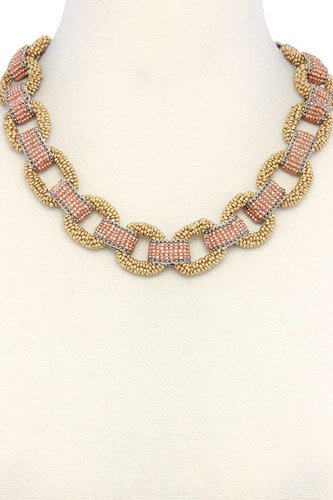 Beaded circle linked necklace-id.cc37945