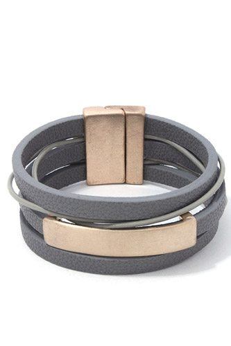 Metal bar pu leather wrap magnetic bracelet-id.cc37959