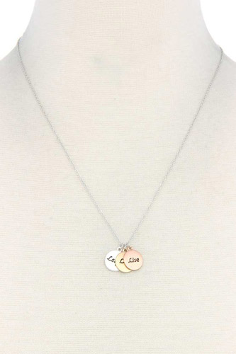 Laugh love live engraved charm metal necklace-id.cc37967