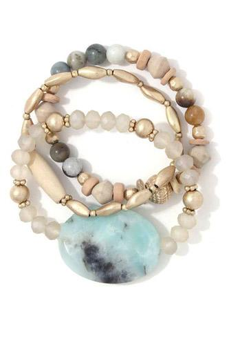 Natural stone beaded stretch bracelet set-id.cc37975