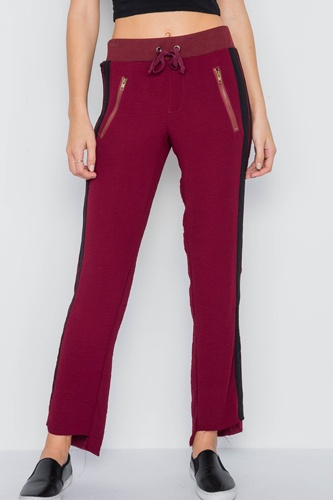 Wine contrast trim raw hem casual sporty pants -id.cc37978