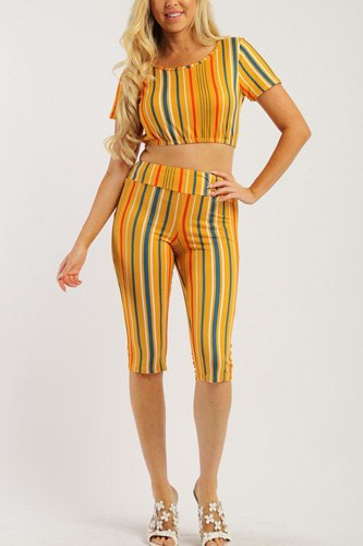 Pin striped, 3 piece top, capri legging and scarf set-id.cc37998