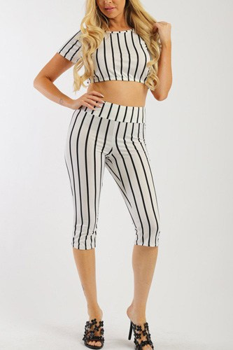 Pin striped, 3 piece top, capri legging and scarf set-id.cc37998b
