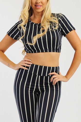 Pin striped, 3 piece top, capri legging and scarf set-id.cc37998c