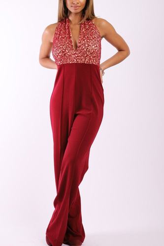 Solid jumpsuit with sequined crochet lave halter top-id.cc37999a