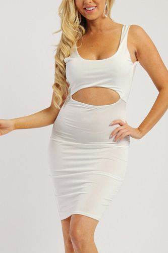 Solid sleeveless dress with scoop neck, low back and front cutout-id.cc38001