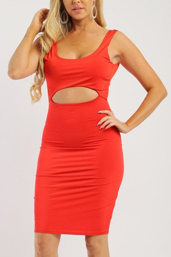 Solid sleeveless dress with scoop neck, low back and front cutout-id.cc38001a