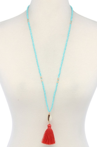 Cowrie shell tassel beaded necklace-id.cc38012