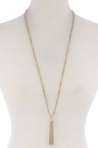 Hammered metal bar pendant suede necklace-id.cc38017