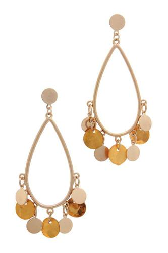 Coin dangle teardrop shape post drop earring-id.cc38031