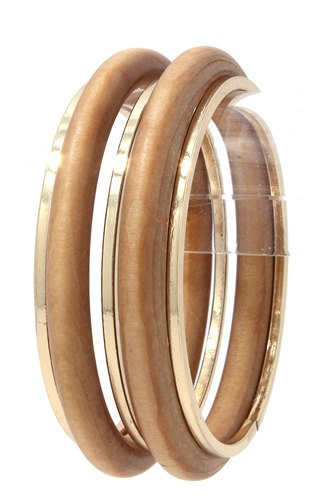 Wood metal bangle bracelet set-id.cc38032