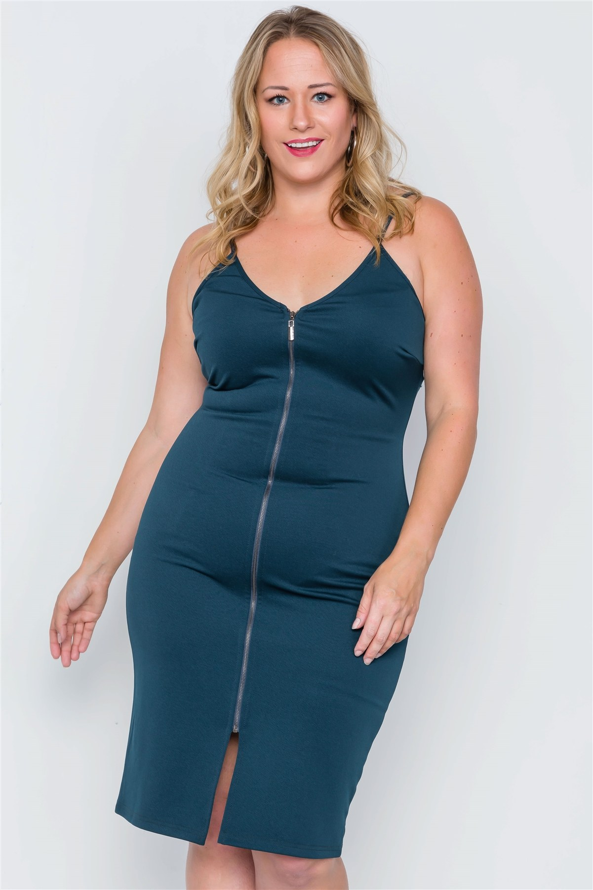 Plus size black ribbed cami bodycon mini dress-id.cc38511a