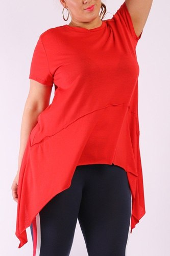 Solid knit, tunic top in an oversized fit with a round neckline,short sleeves, and asymmetrical hem-id.cc38512