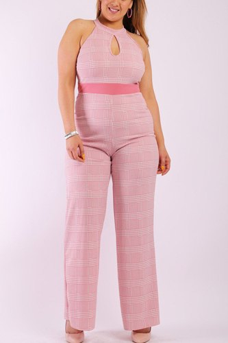 Plaid, sleeves jumpsuit with front and back keyhole, halter neck, contrast solid waist trim and back button closure-id.cc38514