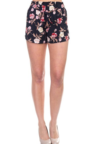 Floral belted mini shorts-id.cc38519
