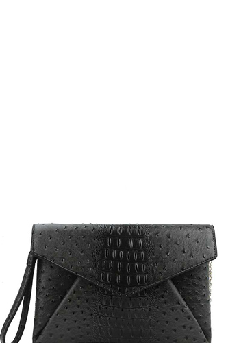 Designer croc texture envelope clutch with chain -id.cc38532