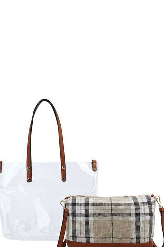 2in1 hot trendy transparent tote bag with long strap -id.cc38536