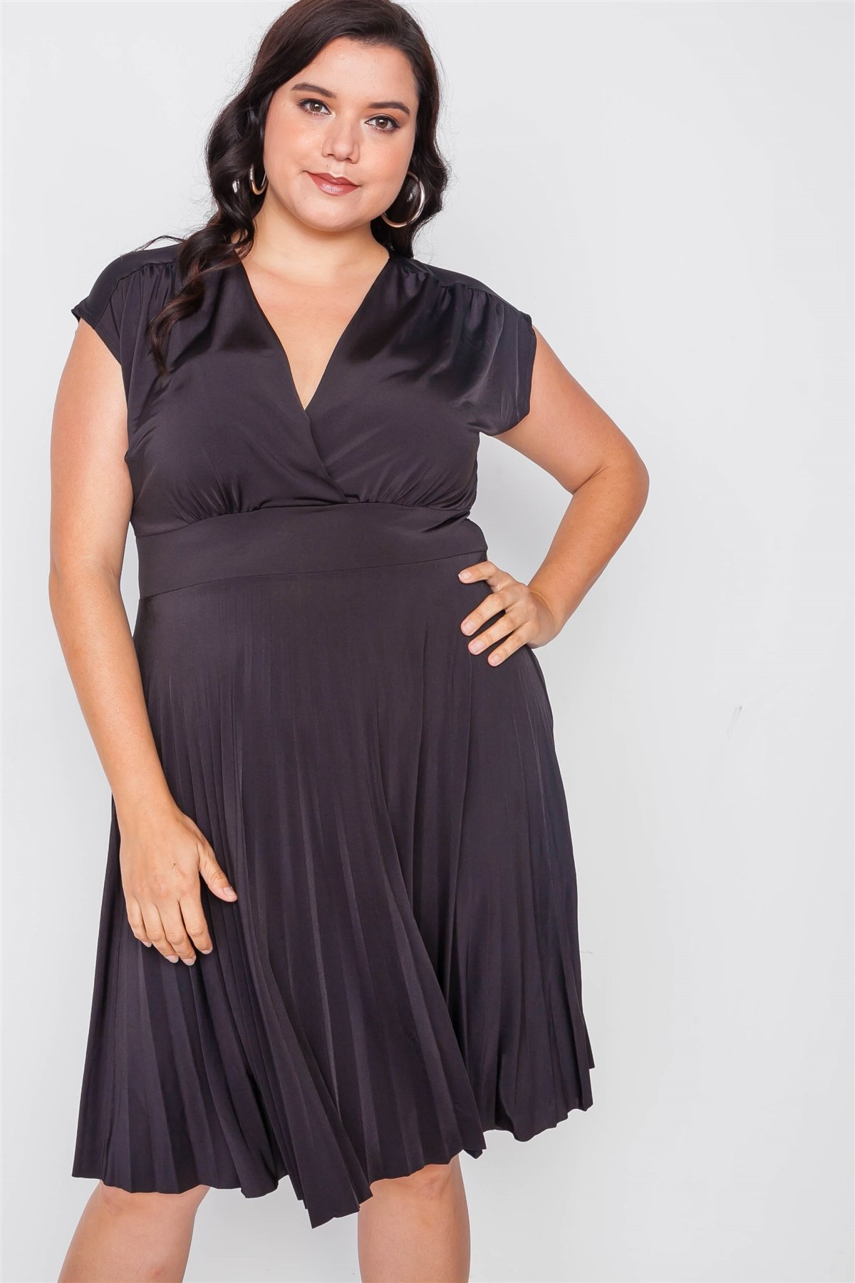 Plus size pleat accordion fit & flair dress-id.cc38538a