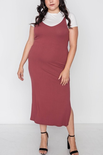 Plus size ribbed two piece dress-id.cc38545a