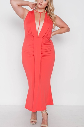 Plus size red deep v-neck strap detail maxi dress-id.cc38546