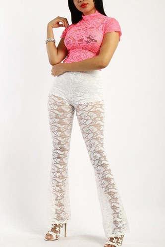 Lace, full length, high waisted pants in a bodycon fit-id.cc38601a