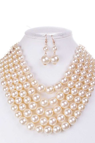 Color block pearl chunky necklace and earring set-id.cc38617