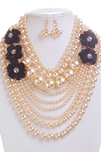 Pearl with flower necklace and earring set-id.cc38618