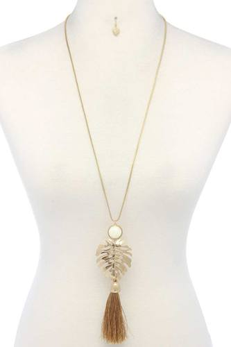 Tropical leaf pendant tassel necklace-id.cc38622