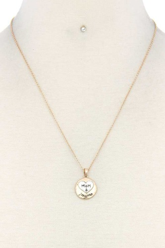 Mom daughter heart round charm necklace-id.cc38625