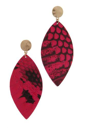 Genuine leather animal print pointed oval post drop earring-id.cc38627