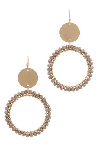 Metal circle beaded ring post drop earring-id.cc38632