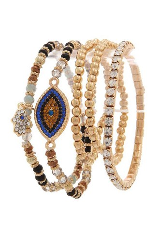 Evil eye rhinestone beaded stretch bracelet set-id.cc38637
