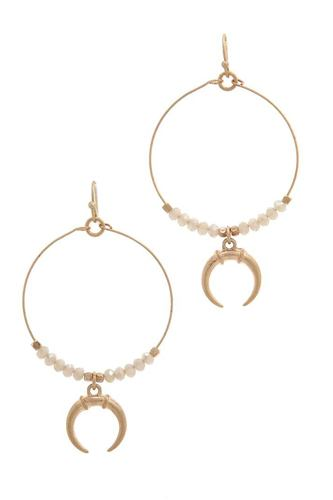 Double horn charm beaded drop earring-id.cc38655